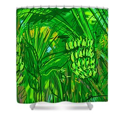 Green Bananas Shower Curtain by Jean Pacheco Ravinski