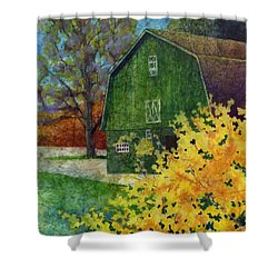 Shower Curtain featuring the painting Green Barn by Hailey E Herrera