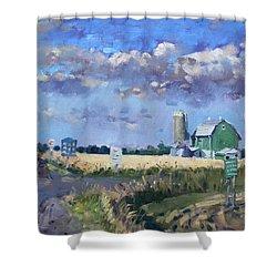 Green Barn In Glen Williams On Shower Curtain by Ylli Haruni