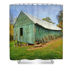 Shower Curtain featuring the photograph Green Barn by Marion Johnson