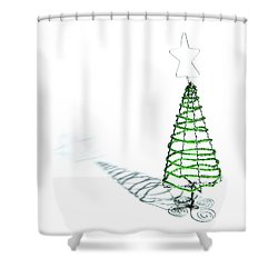 Green Bead Christmas Tree II Shower Curtain