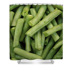 Green Beans Close-up Shower Curtain by Carol Groenen