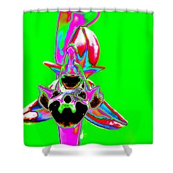 Green Bee Orchid Shower Curtain