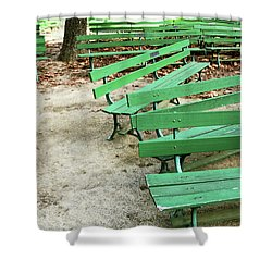 Green Benches- Fine Art Photo By Linda Woods Shower Curtain by Linda Woods