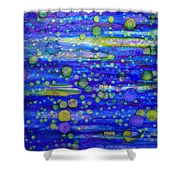 Green Bubbles In A Purple Sea Shower Curtain