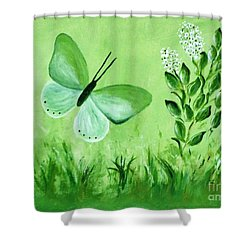 Shower Curtain featuring the painting Green Butterfly by Sonya Nancy Capling-Bacle
