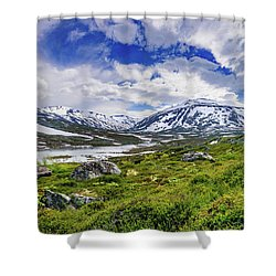 Shower Curtain featuring the photograph Green Carpet Under The Cotton Sky by Dmytro Korol