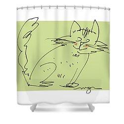 Green Cat Shower Curtain
