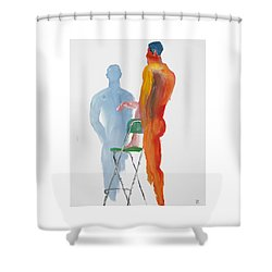 Shower Curtain featuring the painting Green Chair Blue Shadow by Shungaboy X