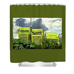 Green Chairs. Shower Curtain