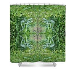 Green Fractal Shower Curtain