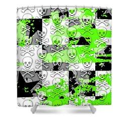 Green Checker Skull Splatter Shower Curtain