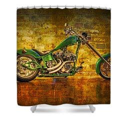 Green Chopper Shower Curtain by Debra and Dave Vanderlaan