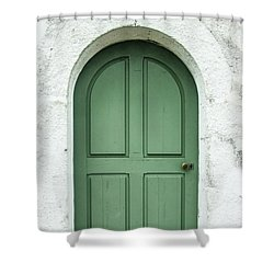 Green Church Door Iv Shower Curtain by Helen Northcott