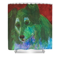 Shower Curtain featuring the painting Green Collie by Donald J Ryker III