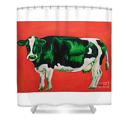 Green Cow Shower Curtain
