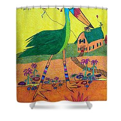 Green Crane With Leggings And Painted Toes Shower Curtain