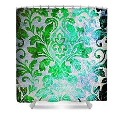 Green Damask Pattern Shower Curtain