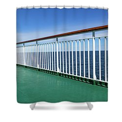 Green Deck Of A Passenger Ship Shower Curtain