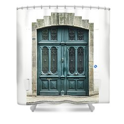 Green Door Shower Curtain by Helen Northcott