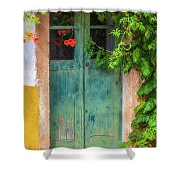 Green Door With Vine Shower Curtain