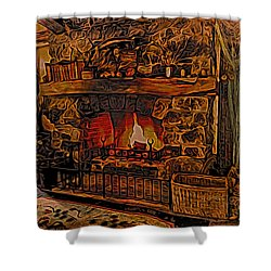 Shower Curtain featuring the digital art Green Dragon Hearth by Kathy Kelly