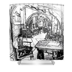Shower Curtain featuring the drawing Green Dragon Inn Nook by Kathy Kelly