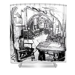 Shower Curtain featuring the drawing Green Dragon Inn's Writing Nook T-shirt by Kathy Kelly
