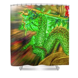 Green Dragon Shower Curtain by Mark Dunton