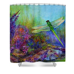 Green Dragonfly Shower Curtain by Claire Bull