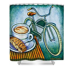 Green Electra Delivery Bicycle Coffee And Biscotti Shower Curtain