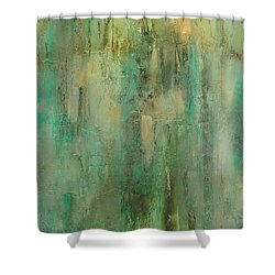 Shower Curtain featuring the painting Green Envy by Tamara Bettencourt