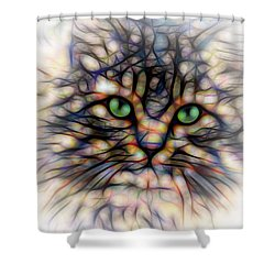 Green Eye Kitty Square Shower Curtain by Terry DeLuco