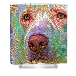 Green Eyes Shower Curtain by Geri Glavis