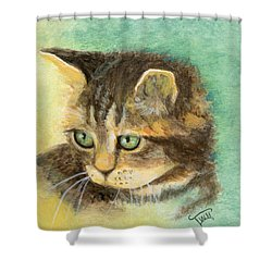 Green Eyes Shower Curtain by Terry Webb Harshman