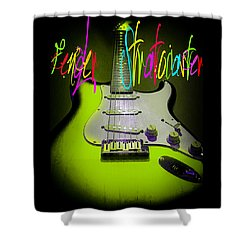 Shower Curtain featuring the photograph Green Fender Stratocaster  by Guitar Wacky