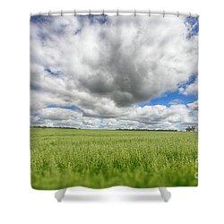 Green Fields 2 Shower Curtain by Douglas Barnard