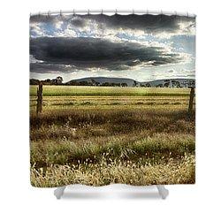 Green Fields 6 Shower Curtain by Douglas Barnard