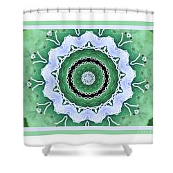 Green Floral Wheel Shower Curtain