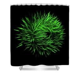 Green Flower Burst Shower Curtain