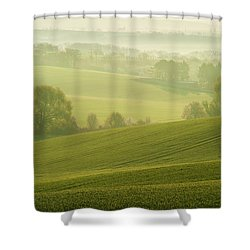Shower Curtain featuring the photograph Green Foggy Waves by Jenny Rainbow