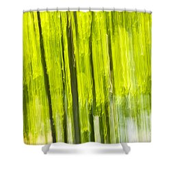 Green Forest Abstract Shower Curtain