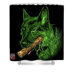 Shower Curtain featuring the digital art Green German Shepherd And Toy - 0745 F by James Ahn