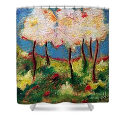 Green Glade Shower Curtain by Elizabeth Fontaine-Barr
