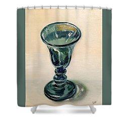 Green Glass Goblet Shower Curtain