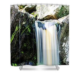 Green Glows On The Falls Shower Curtain