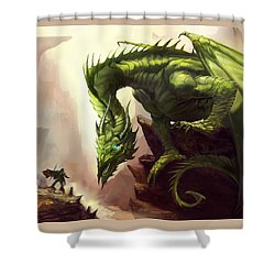 Green God Dragon Shower Curtain by Anthony Christou
