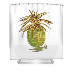 Green Gold Pineapple Painting Illustration Aroon Melane 2015 Collection By Madart Shower Curtain by Megan Duncanson