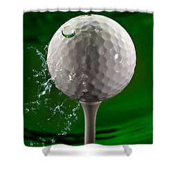Green Golf Ball Splash Shower Curtain by Steve Gadomski