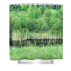 Green Grass Black Water Shower Curtain